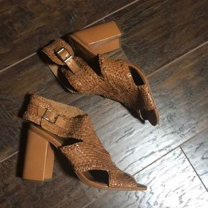 Halogen brown woven open toe sandals size 9
